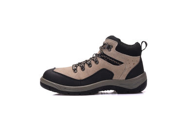 China Outdoor Suede Non Metal Heavy Duty Work Shoes , High Ankle PU Safety Toe Shoes supplier