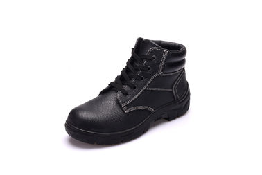China Antistatic Black Leather Safety Shoes With Wide Steel Toe Cap / Steel Plate supplier