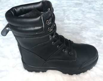 China Pu / Rubber Outsole Army Safety Shoes High Cut Black Military Combat Boots supplier