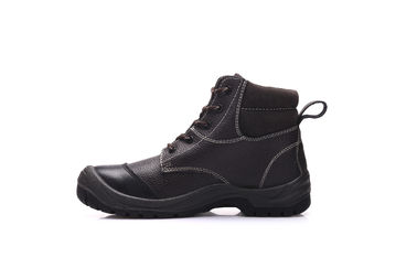 China Desert High Ankle Black Safety Shoes Mens Cow Leather With Steel Toe /l Plate factory